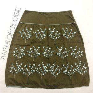 Anthro Odille green blue embroidered skirt 2 XS